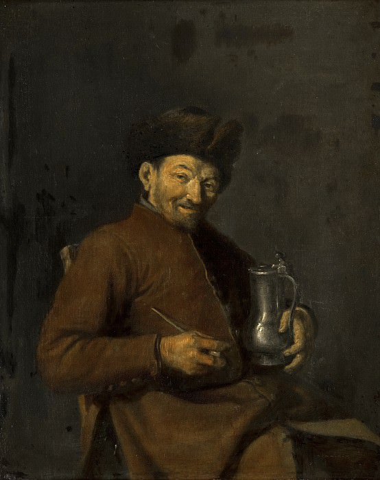 Anonymous (Northern Netherlands) - Old Man with Tankard and Pipe. Mauritshuis