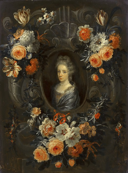 Jean Baptiste Morel (attributed to) - Portrait of a Lady Encircled by a Wreath of Flowers. Mauritshuis