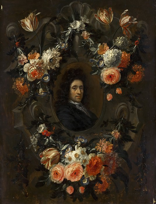 Jean Baptiste Morel (attributed to) - Portrait of a Man Encircled by a Wreath of Flowers. Mauritshuis