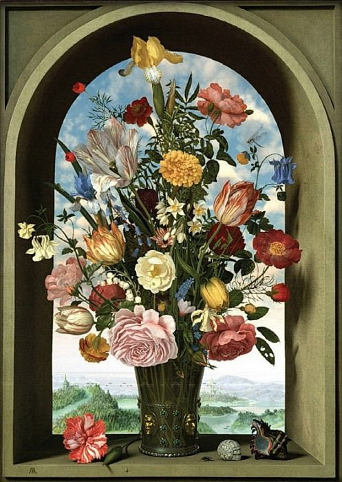Nick Carter - Transforming Still Life Painting after Ambrosius Bosschaert the Elder, Vase With Flowers in a Window, 1618. Mauritshuis