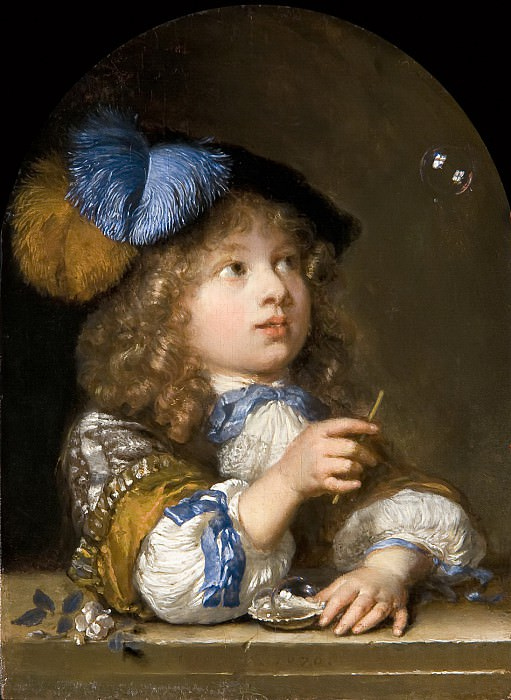 Caspar Netscher - A Boy Blowing Bubbles. Mauritshuis