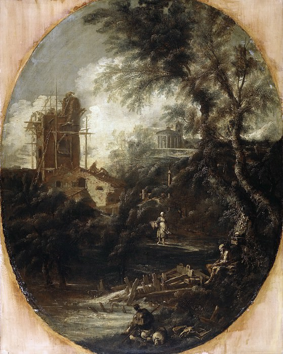 Antonio Francesco Peruzzini, Sebastiano Ricci - Landscape with a Hermit, a Pilgrim, a Peasant Woman and Other Figures. Mauritshuis
