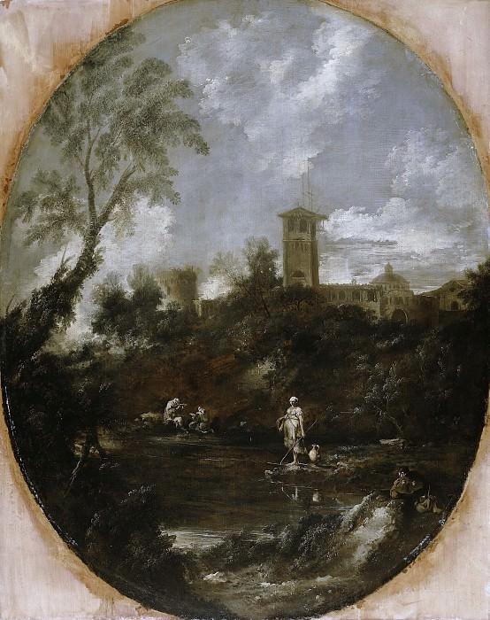 Перуццини, Антонио Франческо и Риччи, Себастьяно - Пейзаж с отшельником, пилигримом и крестьянкой. Маурицхёйс