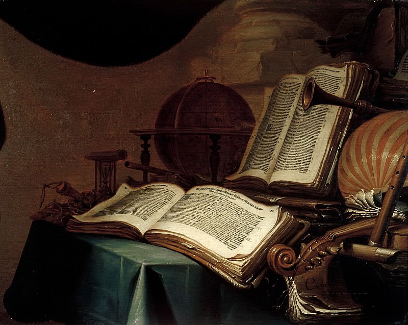 Jan Vermeulen - Still Life with Books, a Globe and Musical Instruments. Mauritshuis