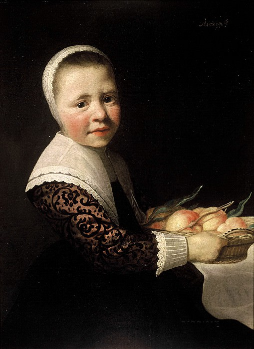 Aelbert Cuyp (attr.) - Portrait of a Girl with Peaches. Mauritshuis