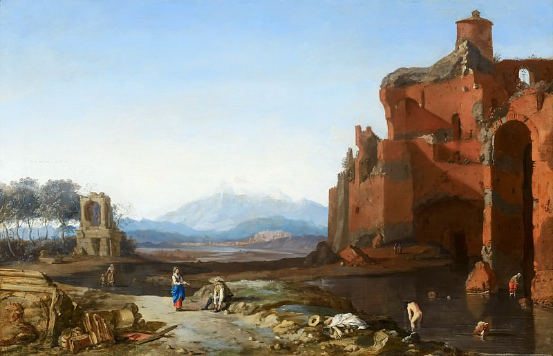 Bartholomeus Breenbergh (follower of) - Italian Landscape with the Aurelian Wall. Mauritshuis