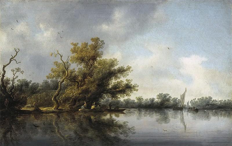 Salomon van Ruysdael - Riverbank with Old Trees. Mauritshuis