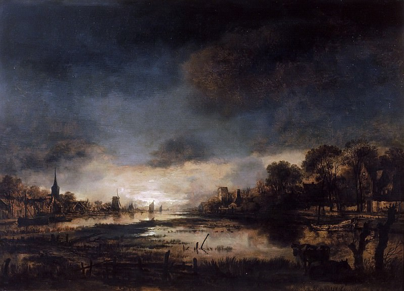 Aert van der Neer - River Landscape at Sunset. Mauritshuis