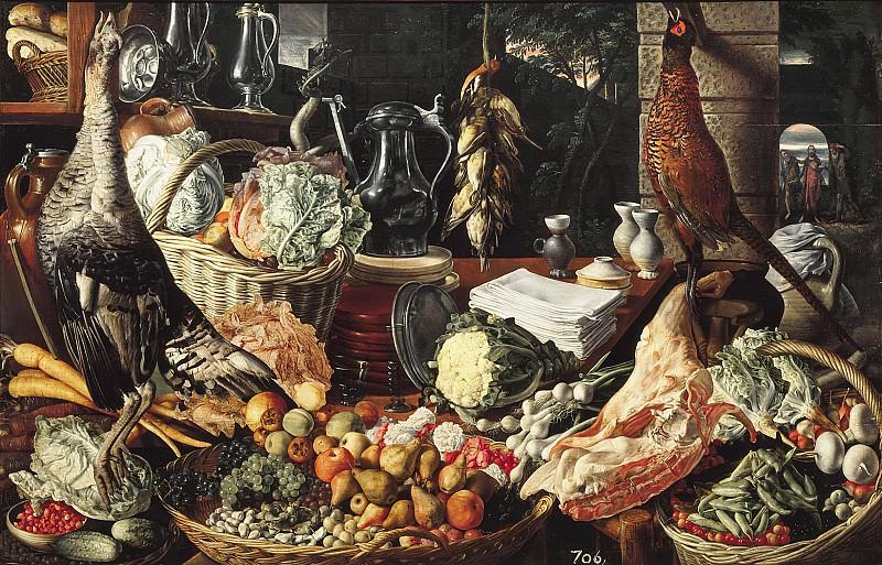 Joachim Beuckelaer - Kitchen Scene with Christ at Emmaus. Mauritshuis