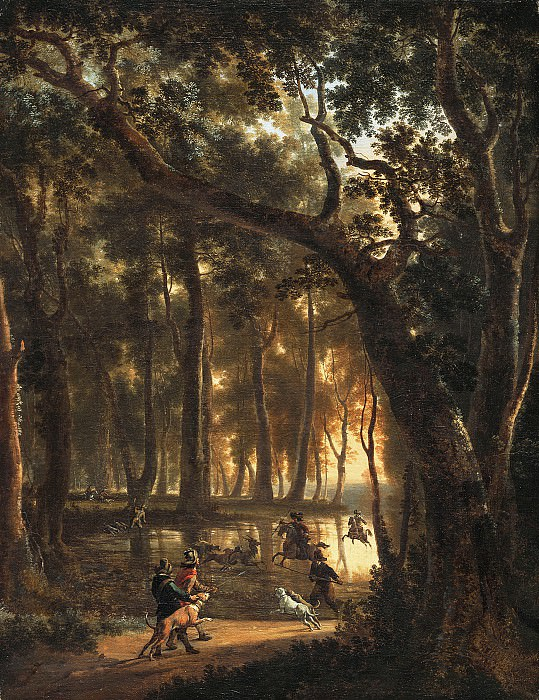 Jan Hackaert - Deer Hunt in a Forest. Mauritshuis