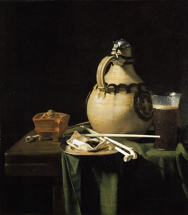 Pieter van Anraadt - Still Life with Earthenware Jug and Clay Pipes. Mauritshuis