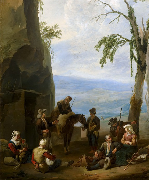 Johannes Lingelbach - Italian Landscape with Resting Peasants. Mauritshuis