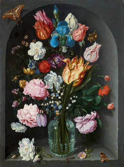 Jacob de Gheyn II - Flowers in a Glass Flask. Mauritshuis