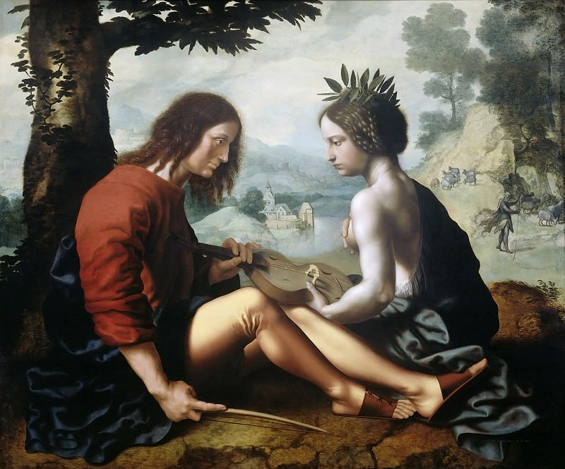 Jan Sanders van Hemessen - Allegorical Scene, possibly the Personification of Poetry with a Poet. Mauritshuis