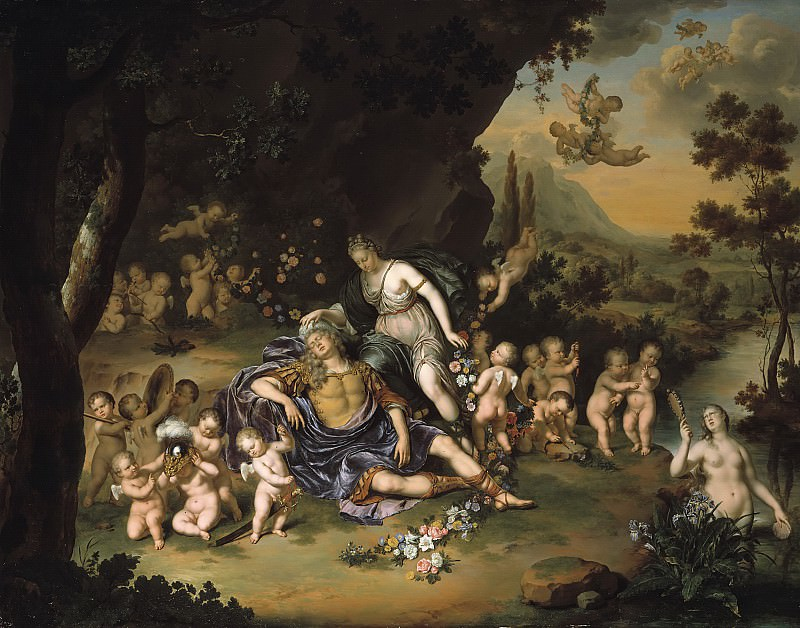 Willem van Mieris - Armida Binding the Sleeping Rinaldo with Flowers. Mauritshuis