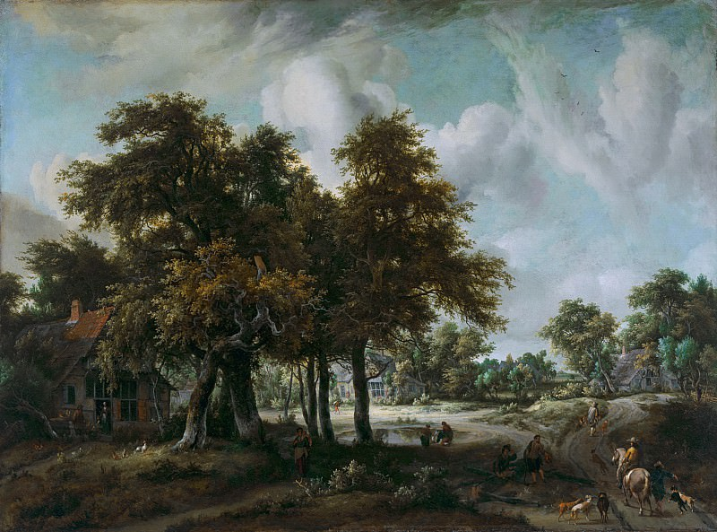 Meindert Hobbema - Wooded Landscape with Cottages. Mauritshuis
