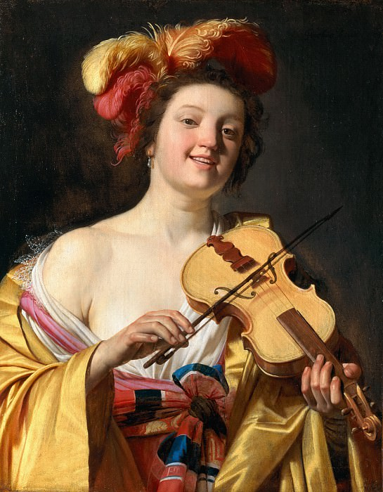 Gerrit van Honthorst - Woman Playing the Violin. Mauritshuis