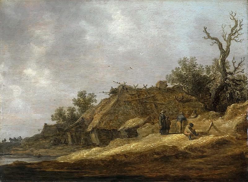 Jan van Goyen - Dilapidated Farmhouse with Peasants. Mauritshuis