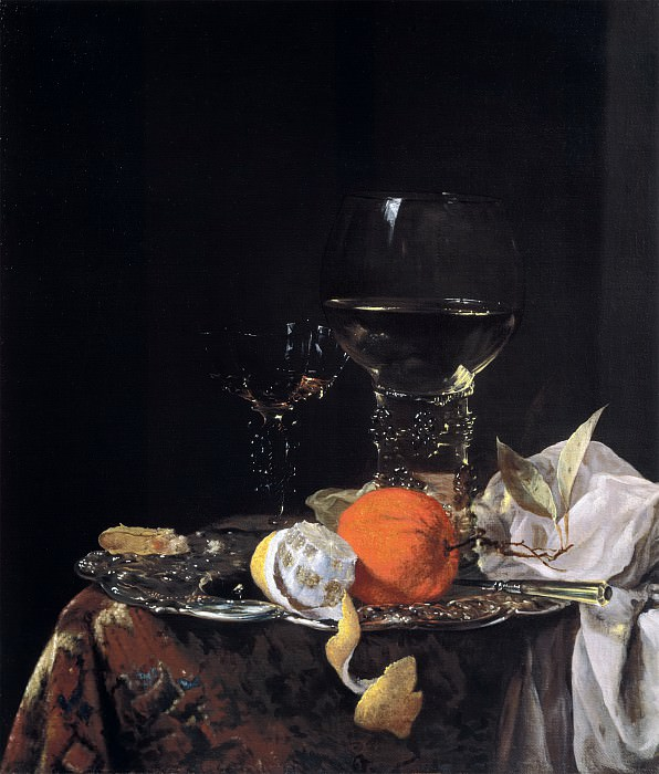 Willem Kalf - Still life with Fruit and Wineglasses on a Silver Plate. Mauritshuis