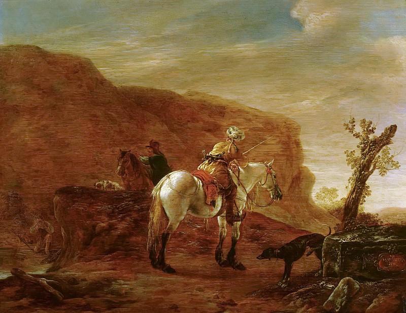Pieter Verbeecq - Two Horsemen by a Stream. Mauritshuis