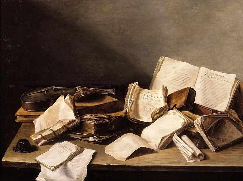 Jan Davidsz de Heem - Still Life with Books and a Violin. Mauritshuis