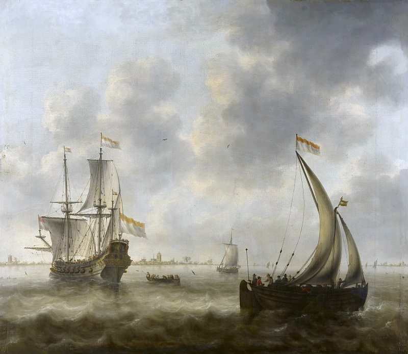 Jacob Adriaensz Bellevois - View of Ships on a River. Mauritshuis