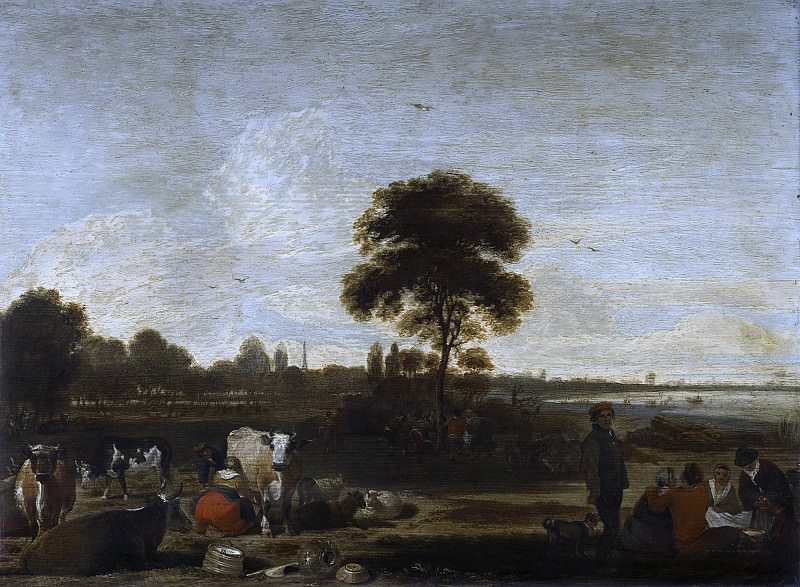 Cornelis Saftleven - Landscape with Herdsmen and Cattle. Mauritshuis