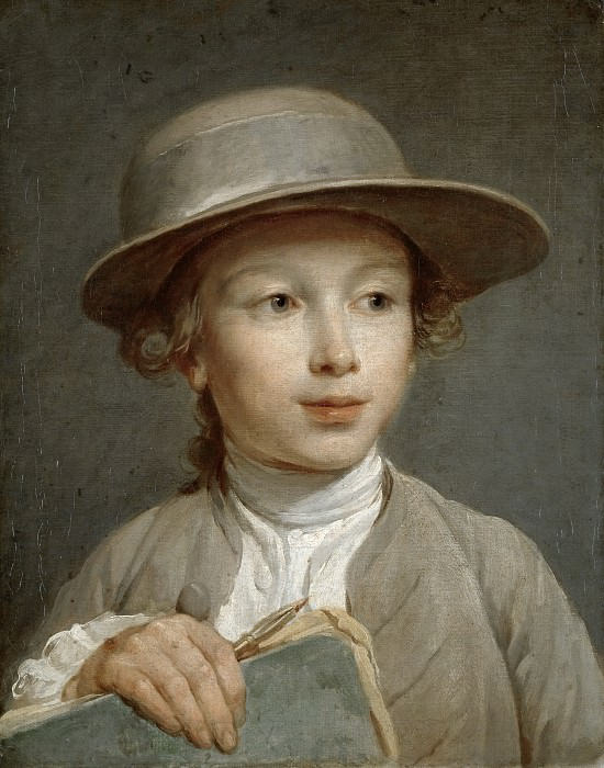 Nicolas-Bernard Lépicié - Portrait of a Boy with a Drawing Book, possibly a Pupil of the Artist. Mauritshuis
