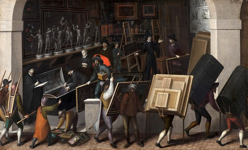 François Bunel the Younger - The Confiscation of the Contents of a Painter's Studio. Mauritshuis