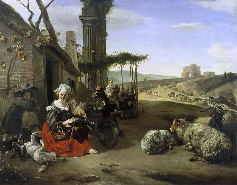 Jan Baptist Weenix - Italian Landscape with Inn and Ancient Ruins. Mauritshuis
