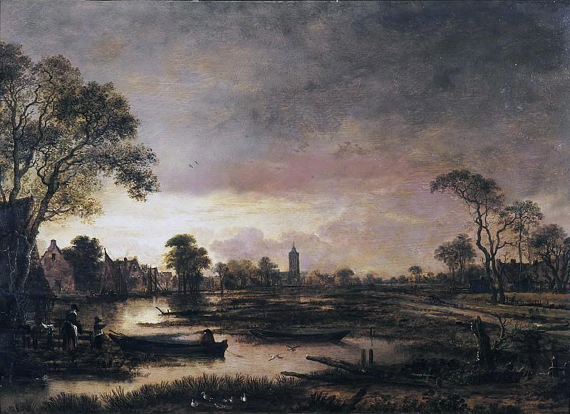 Aert van der Neer - River Landscape. Mauritshuis