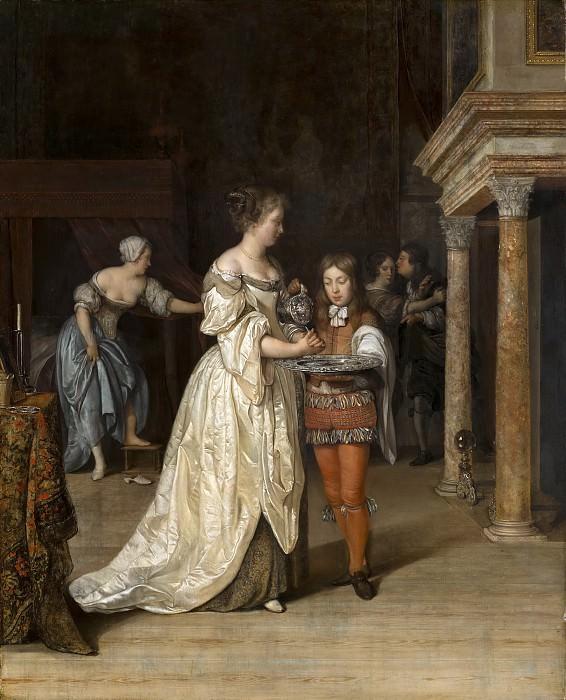 Eglon van der Neer - Interior with a Woman Washing her Hands. Mauritshuis