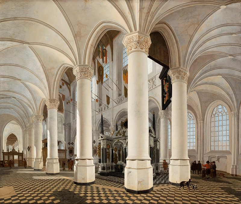 Gerard Houckgeest - Ambulatory of the Nieuwe Kerk in Delft, with the Tomb of William the Silent. Mauritshuis