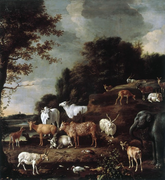 Melchior d' Hondecoeter - Landscape with Exotic Animals. Mauritshuis