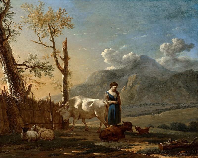 Karel Dujardin - Landscape with a Shepherdess. Mauritshuis