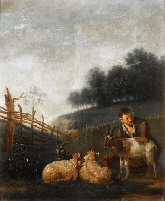 Karel Dujardin (after) - Young Shepherd Milking a Goat. Mauritshuis