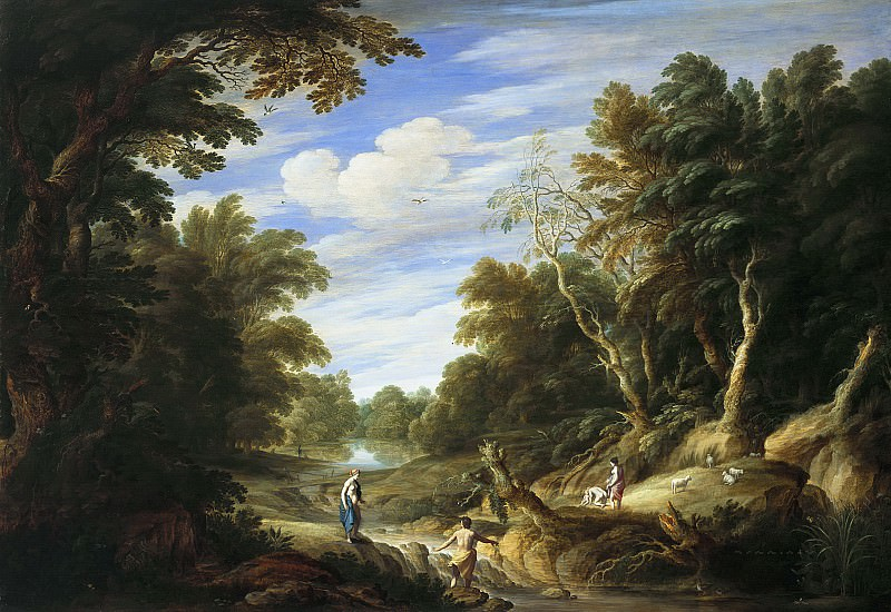 Alexander Keirincx, Cornelis van Poelenburch - Wooded Landscape with Figures. Mauritshuis