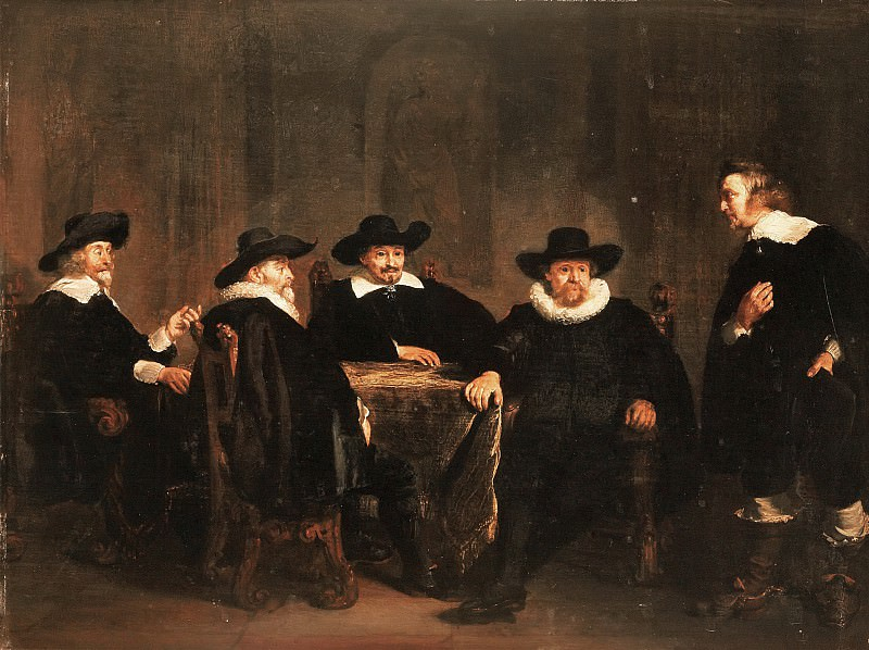 Thomas de Keyser - The Four Burgomasters of Amsterdam Learning of the Arrival of Maria de' Medici on 1 September 1638. Mauritshuis