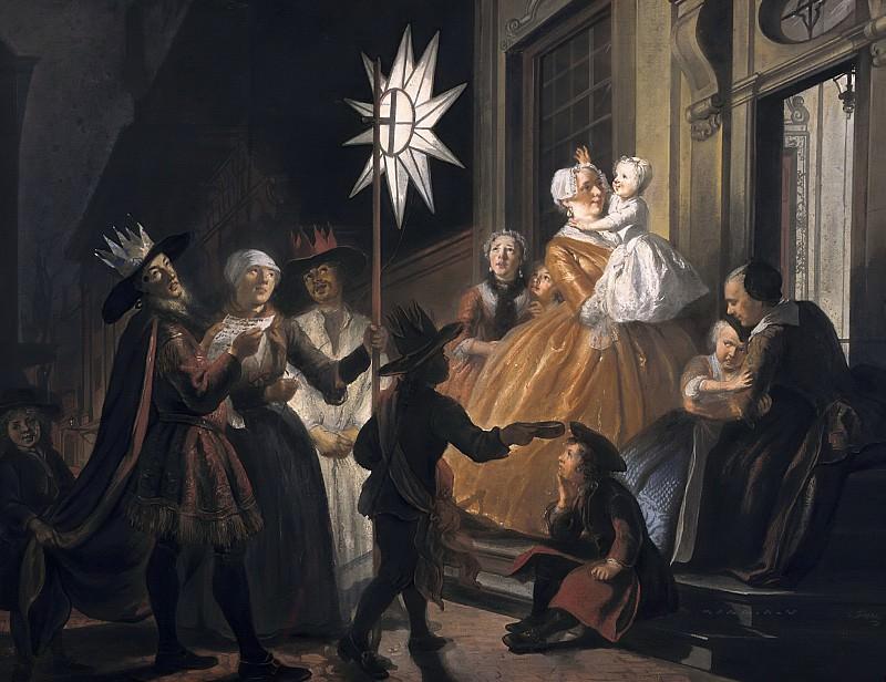 Cornelis Troost - Singing Round the Star on Twelfth Night. Mauritshuis