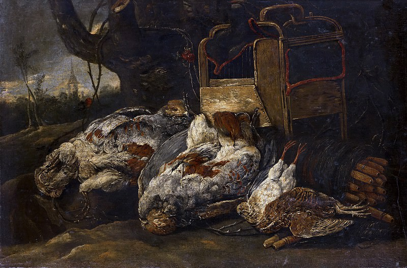 Jan Fijt (attributed to) - Still Life with Dead Birds, Cage and Net. Mauritshuis