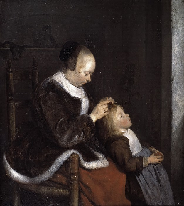 Gerard ter Borch - Mother Combing Her Child's Hair, ('Hunting for Lice'). Mauritshuis