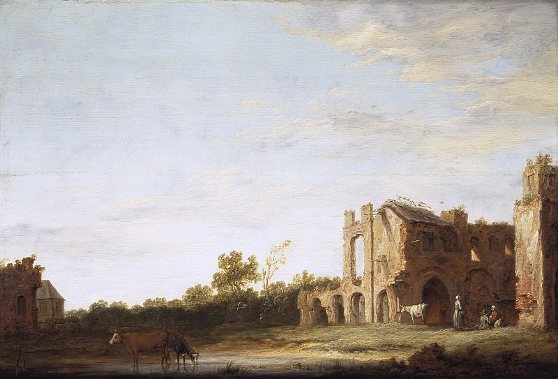 Aelbert Cuyp - Landscape with the Ruins of Rijnsburg Abbey, near Leiden. Mauritshuis
