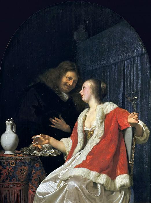 Frans van Mieris the Elder - Man and Woman Eating Oysters. Mauritshuis