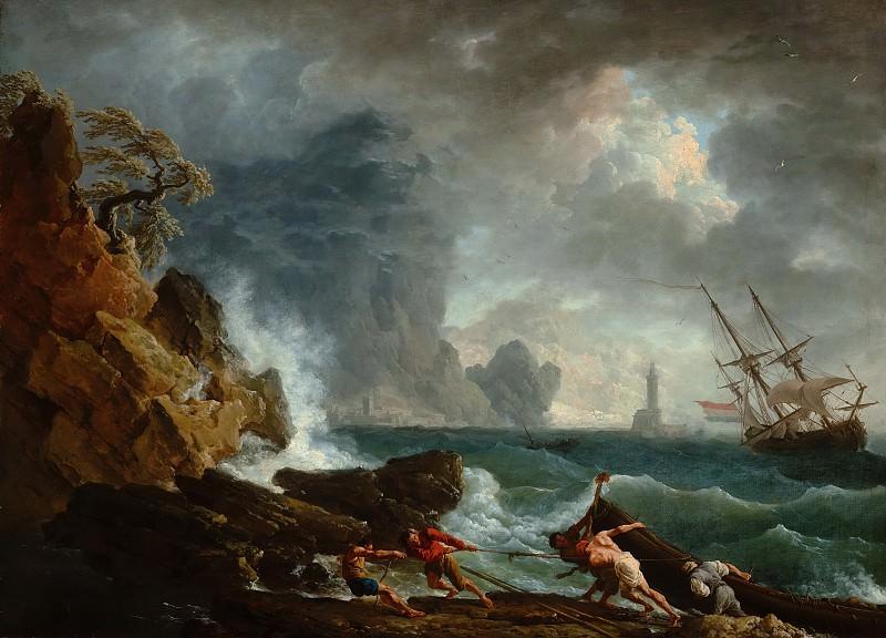 Claude-Joseph Vernet - An Italian Harbour in Stormy Weather. Mauritshuis