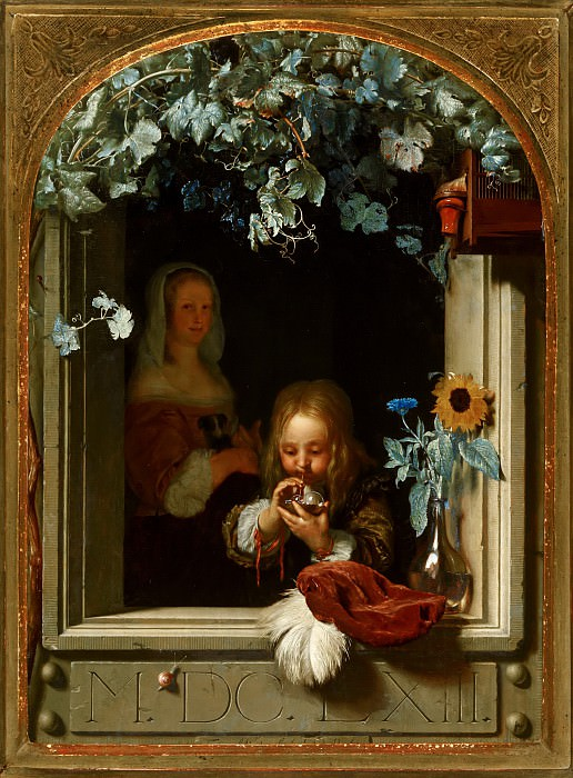 Frans van Mieris the Elder - A Boy Blowing Bubbles. Mauritshuis