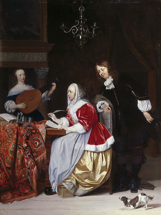 Gabriel Metsu - A Young Woman Composing a Piece of Music. Mauritshuis