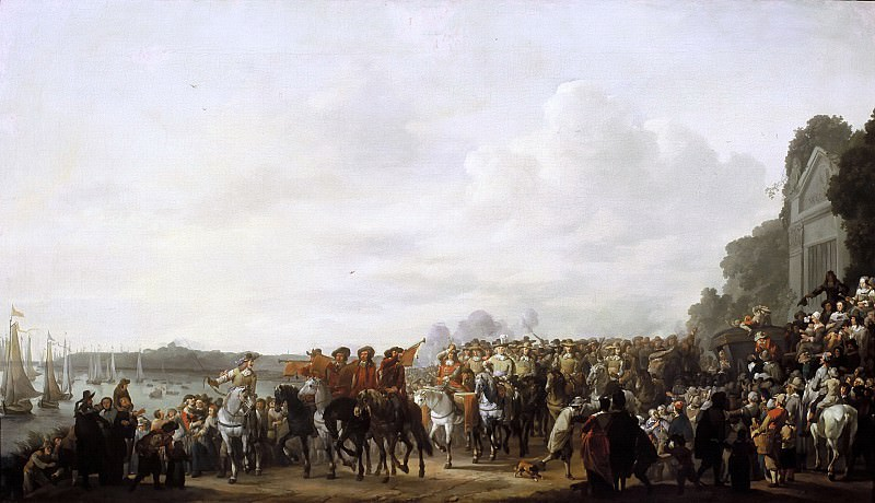 Johannes Lingelbach - Charles II (1630-1685) stopping at the Estate of Wema on his Journey from Rotterdam to The Hague, 25 May 1660. Mauritshuis