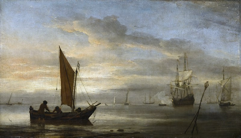 Willem van de Velde the Younger (studio of) - Sunset at Sea. Mauritshuis