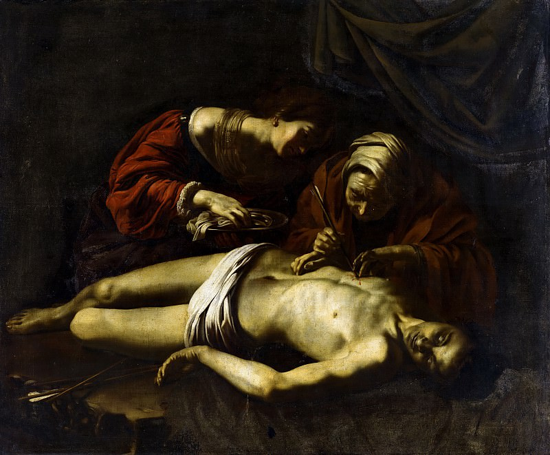 Nicolas Regnier (attributed to) - St Sebastian Tended by St Irene. Mauritshuis