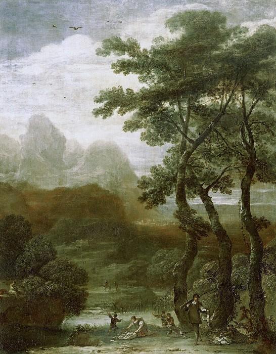 Ignacio de Iriarte - Landscape with Hunters. Mauritshuis